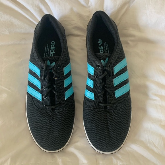 Black Adidas Sneaker With Blue Stripes
